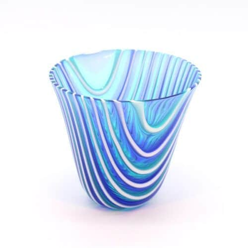 Glasskål hvid og blå